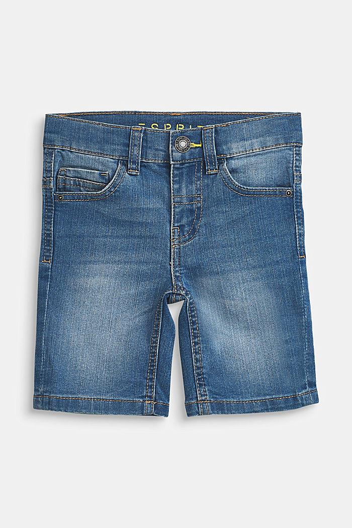 Bermuda di jeans stretch con cintura regolabile, MEDIUM WASH DE, detail image number 0