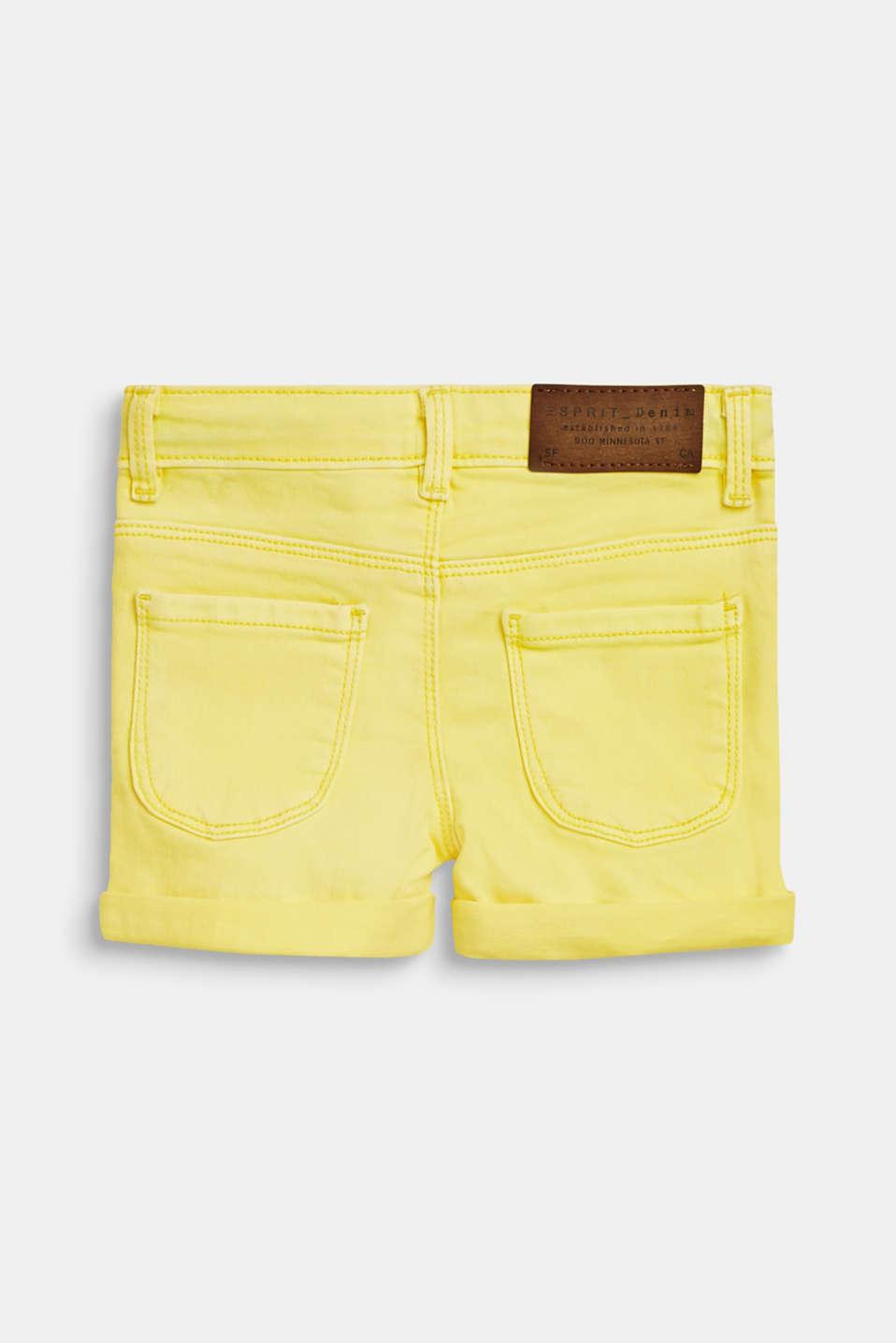 Coloured denim shorts with an adjustable waistband, LEMON DROP, detail image number 1