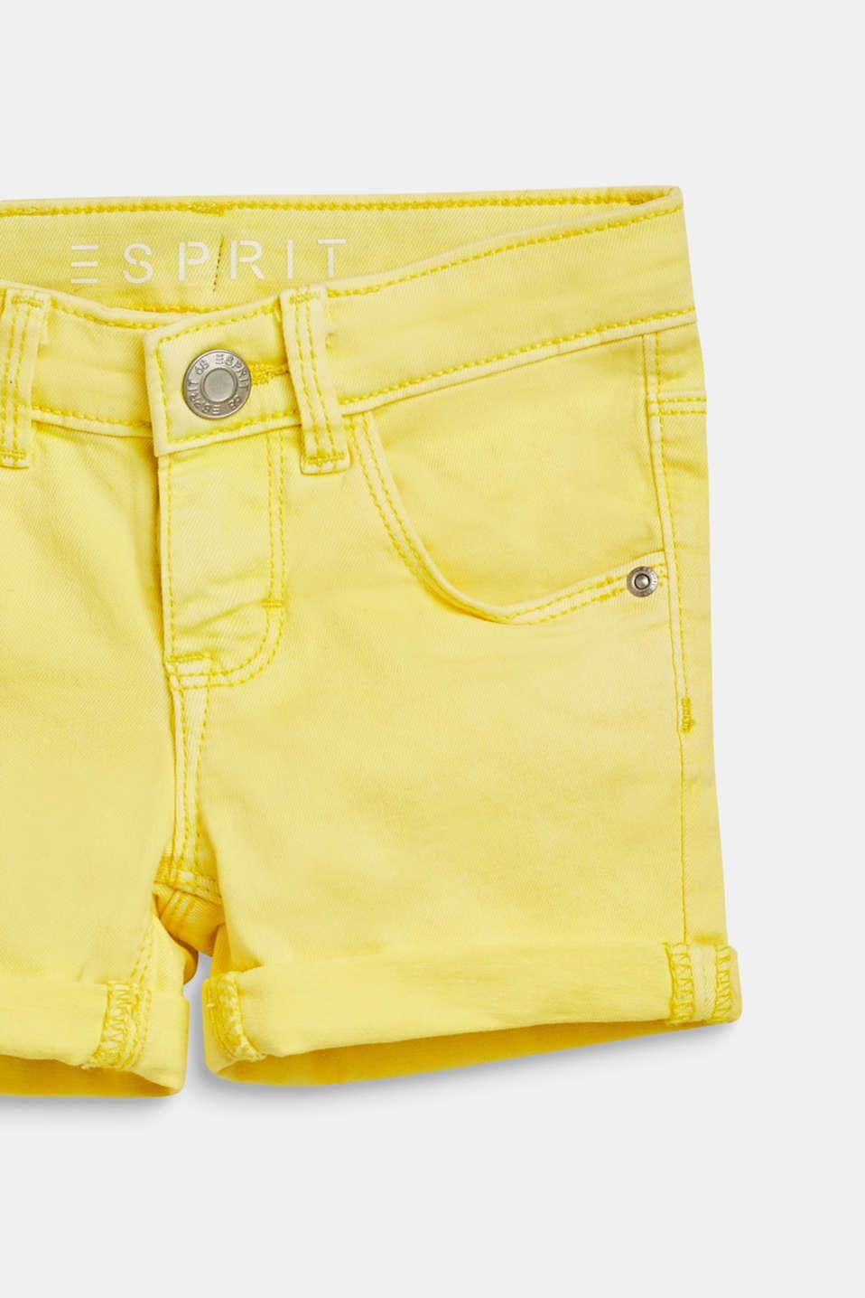 Coloured denim shorts with an adjustable waistband, LEMON DROP, detail image number 2