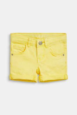 Coloured denim shorts with an adjustable waistband, LEMON DROP, detail