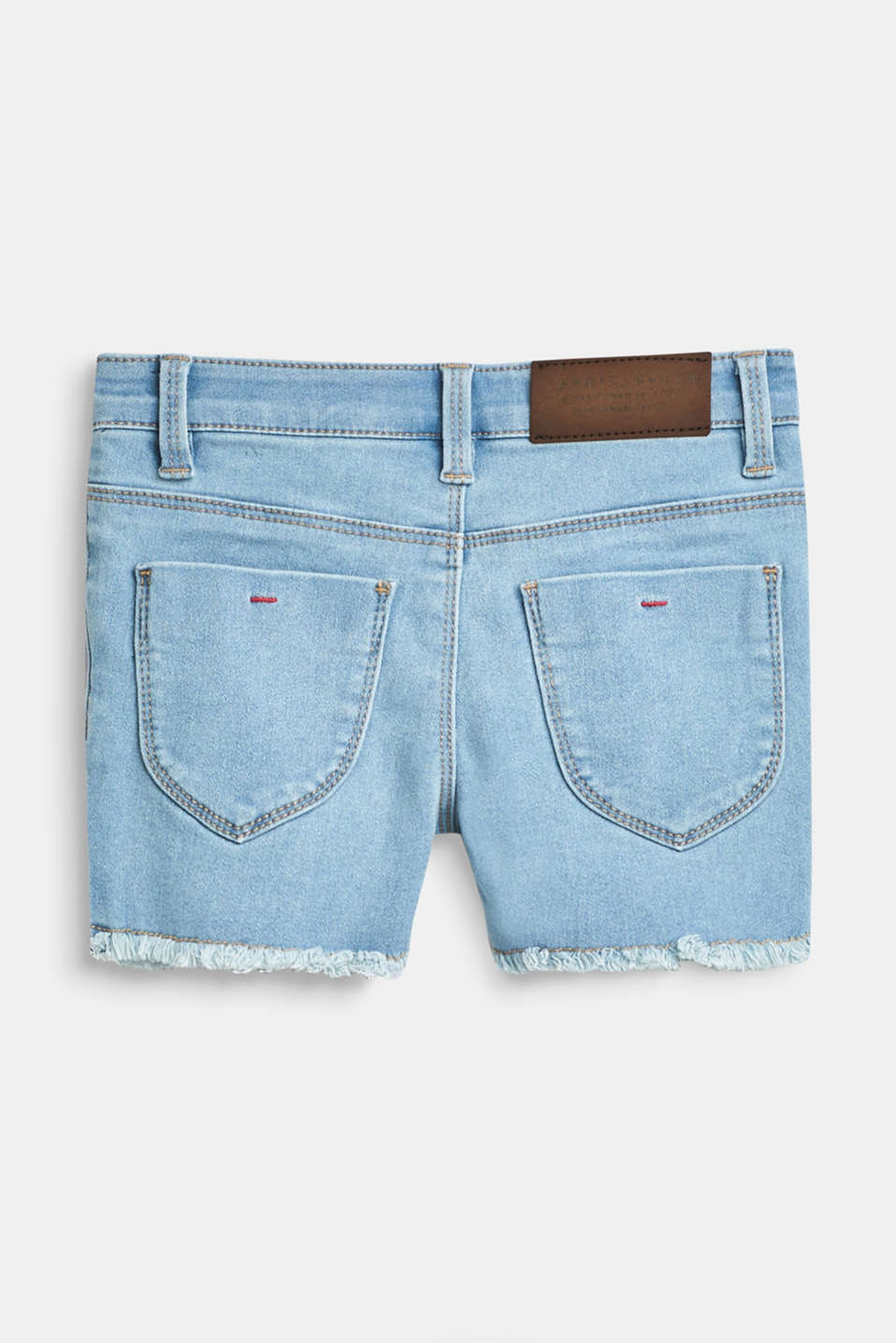 Denim shorts with a statement print, adjustable waistband, BLUE LIGHT WAS, detail image number 1