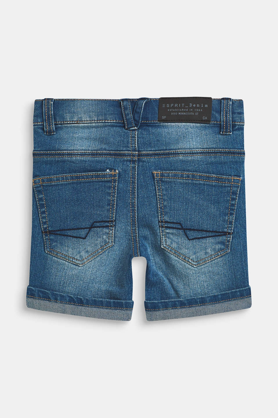 Ultra stretchy denim shorts with a vintage garment wash, MEDIUM WASH DE, detail image number 1