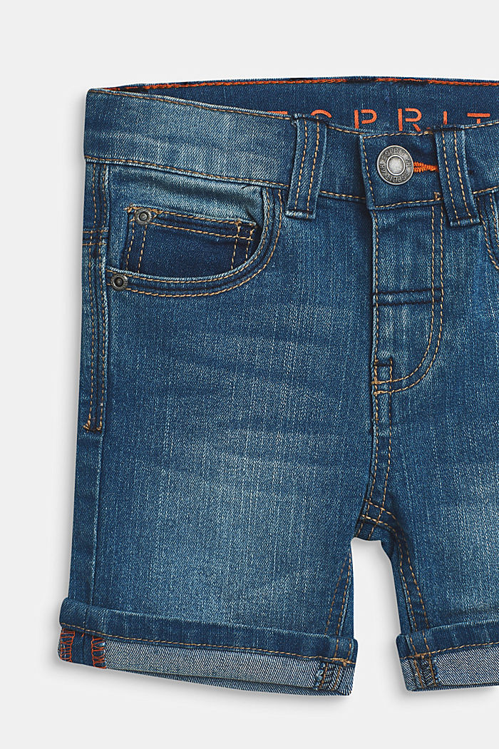 Superstretch-Jeansshorts mit Used-Waschung, MEDIUM WASH DE, detail image number 2
