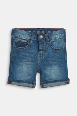 Ultra stretchy denim shorts with a vintage garment wash, MEDIUM WASH DE, detail
