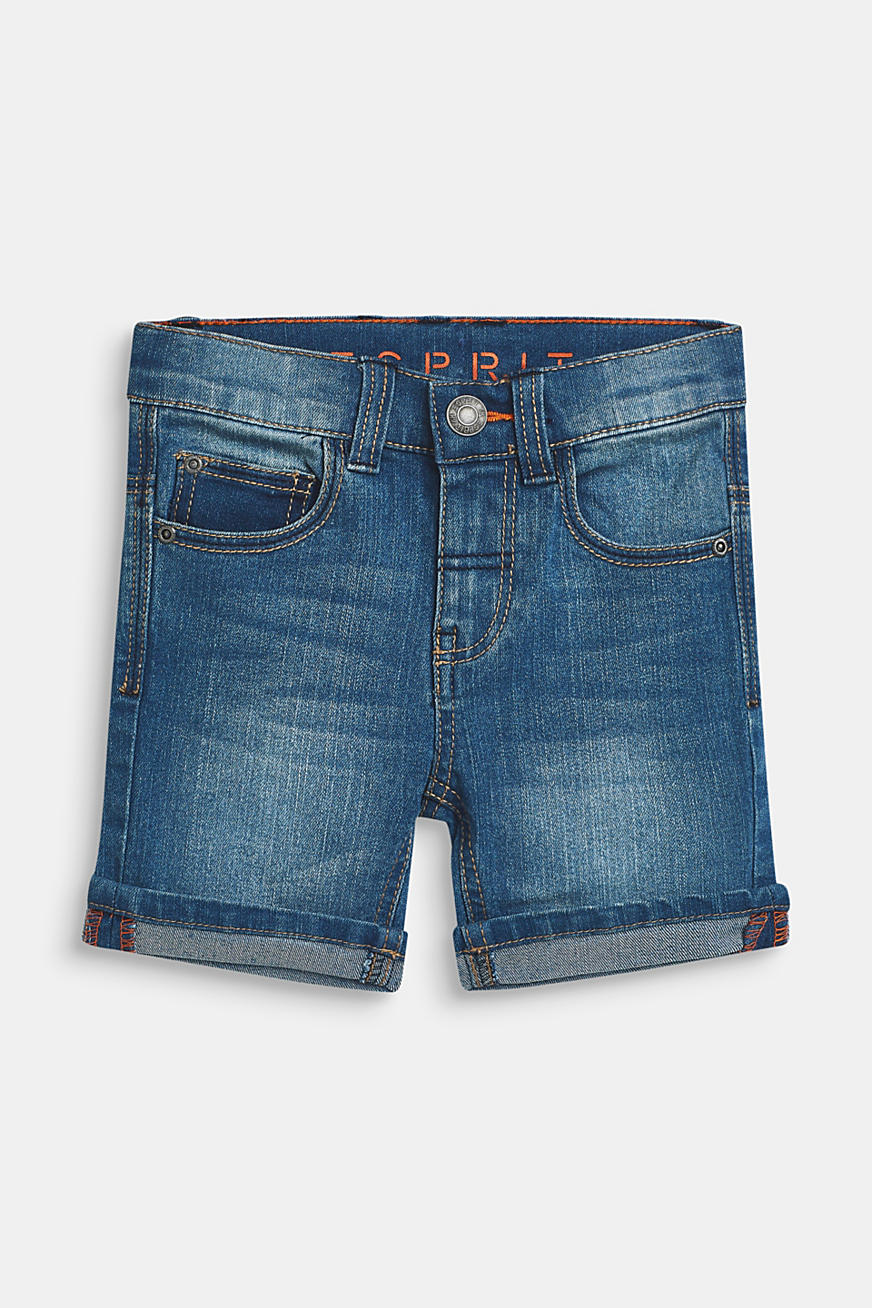 Short en jean super stretch au délavage d'aspect usé