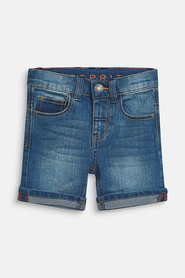 Superstretch-Jeansshorts mit Used-Waschung, MEDIUM WASH DE, detail image number 0