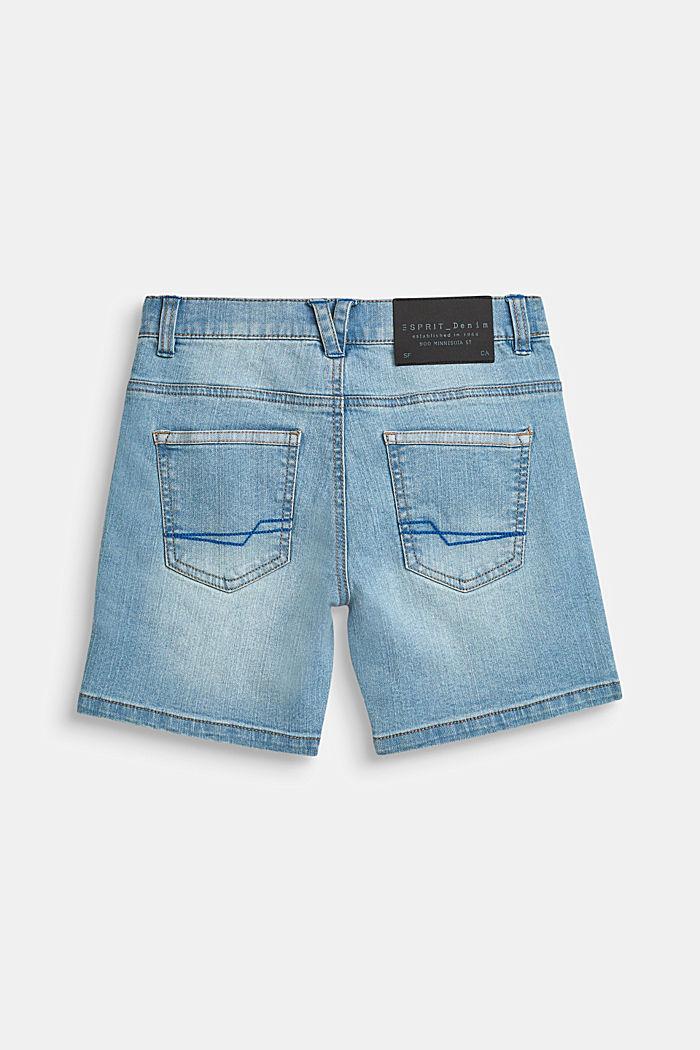 Superstretch-Jeansshorts mit Used-Waschung, BLUE MEDIUM WASHED DENIM, detail image number 1