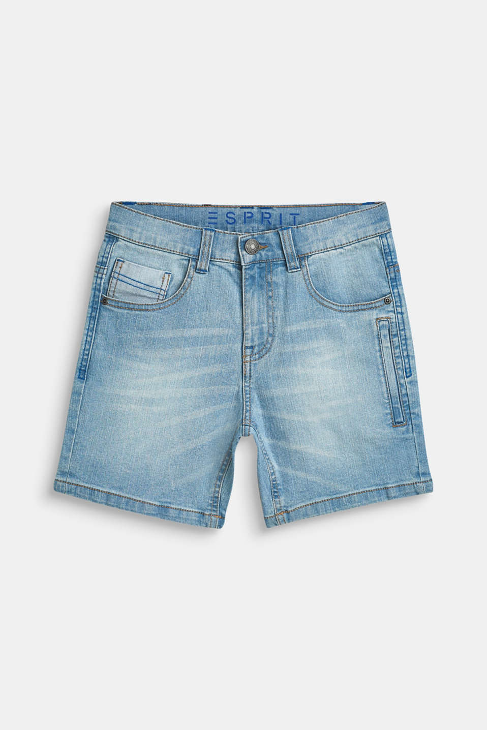 Esprit - Superstretchy denim short met een used wash