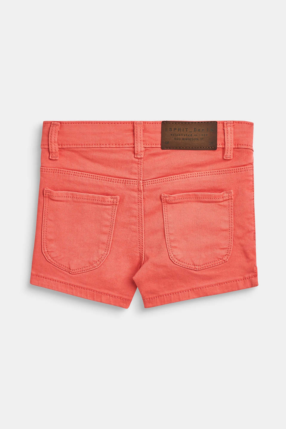 Stretch cotton shorts with an adjustable waistband, CORAL, detail image number 1