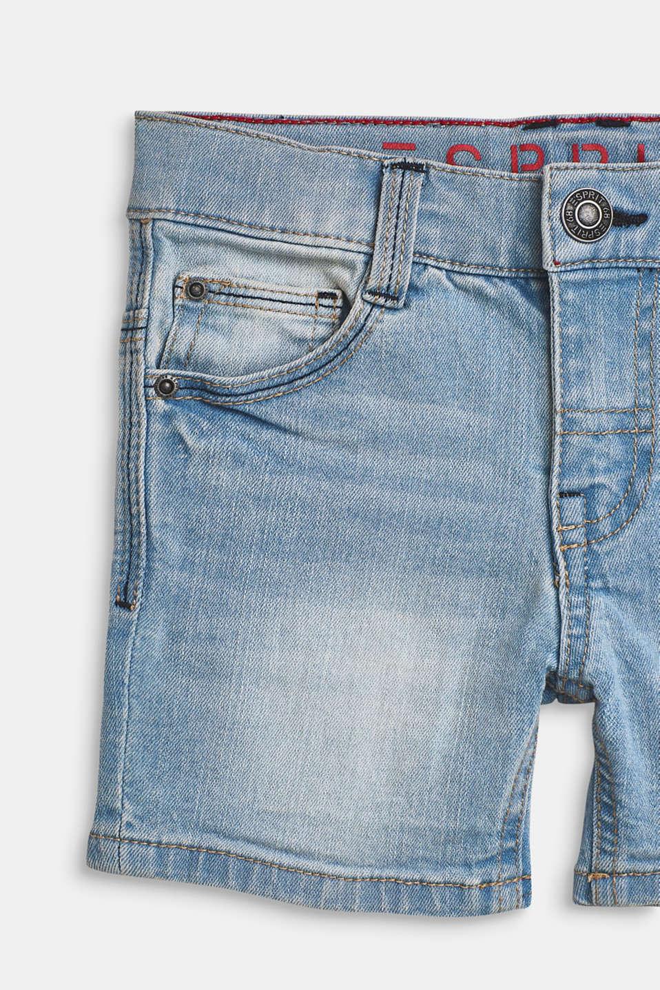 Ultra stretchy denim shorts with a vintage garment wash, BLUE LIGHT WAS, detail image number 2