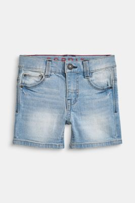 Ultra stretchy denim shorts with a vintage garment wash, BLUE LIGHT WAS, detail