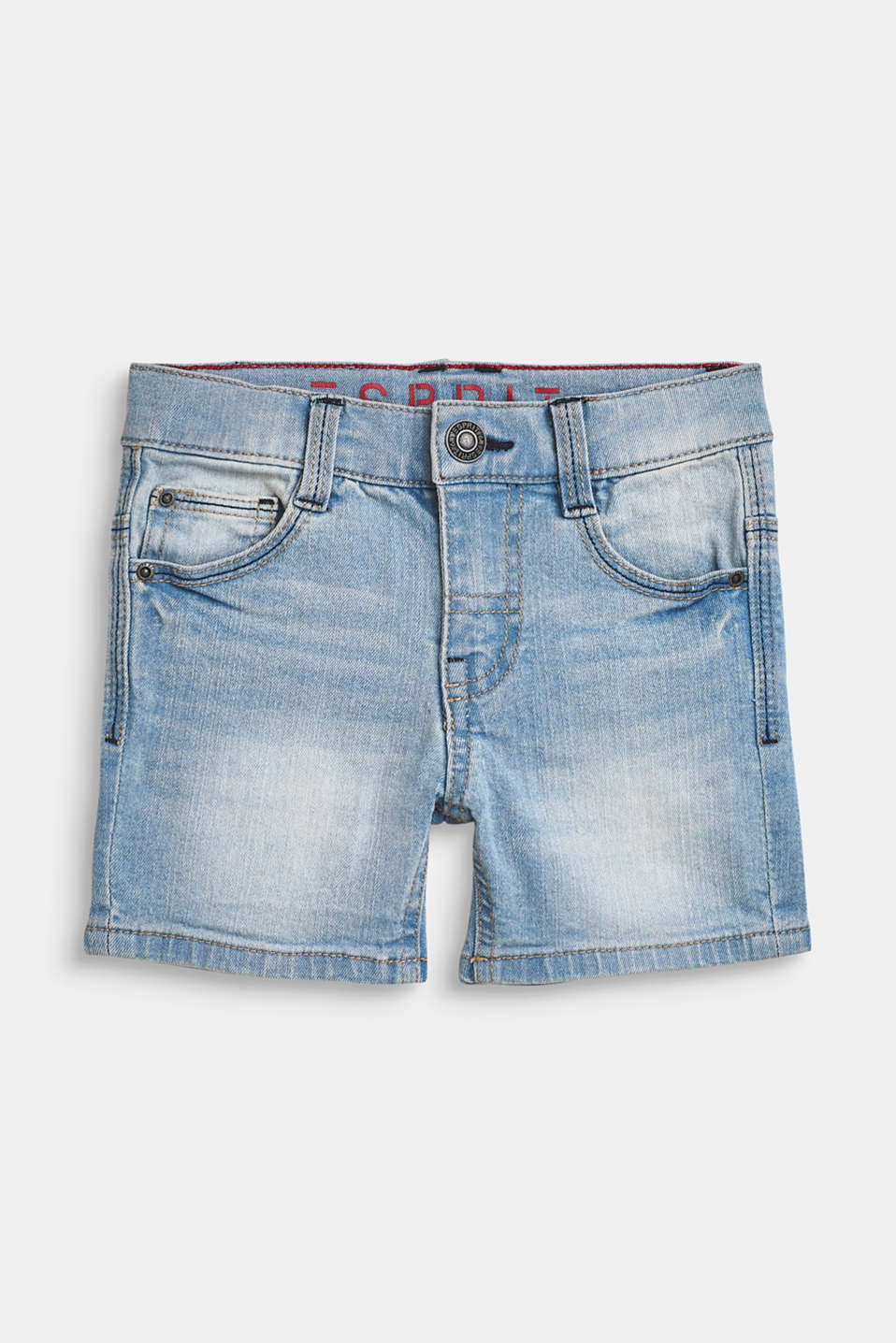 Esprit - Ultra stretchy denim shorts with a vintage garment wash