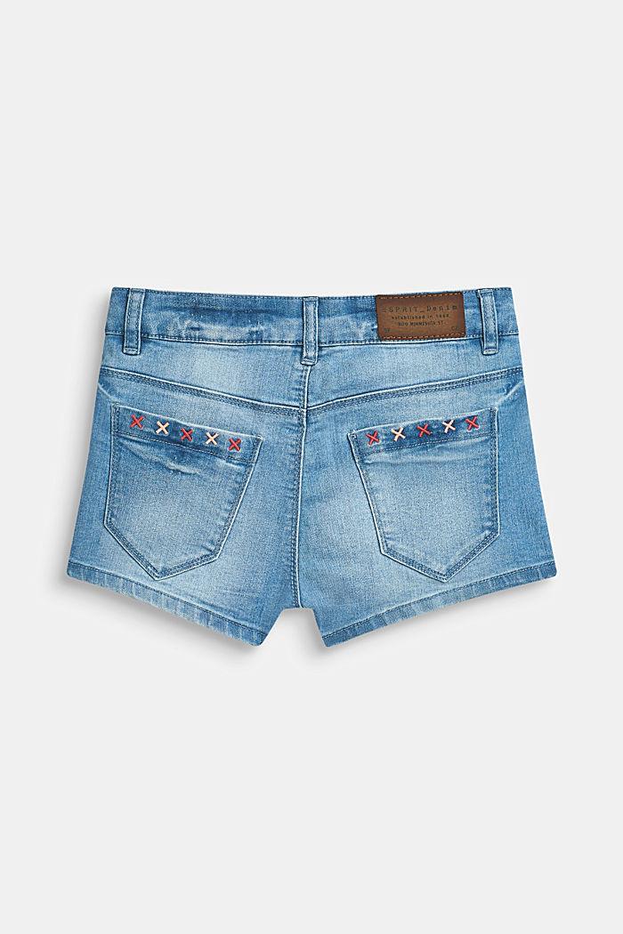 Ultra stretchy denim shorts with a vintage garment wash, LCBLEACHED DENIM, detail image number 1