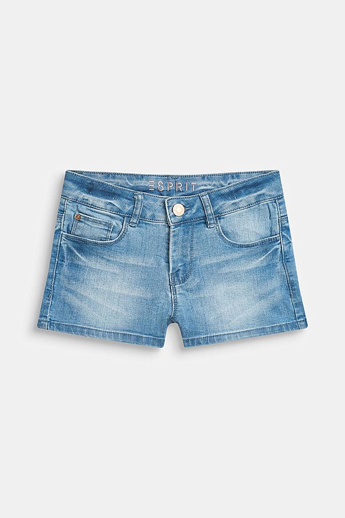 Ultra stretchy denim shorts with a vintage garment wash, LCBLEACHED DENIM, detail image number 0