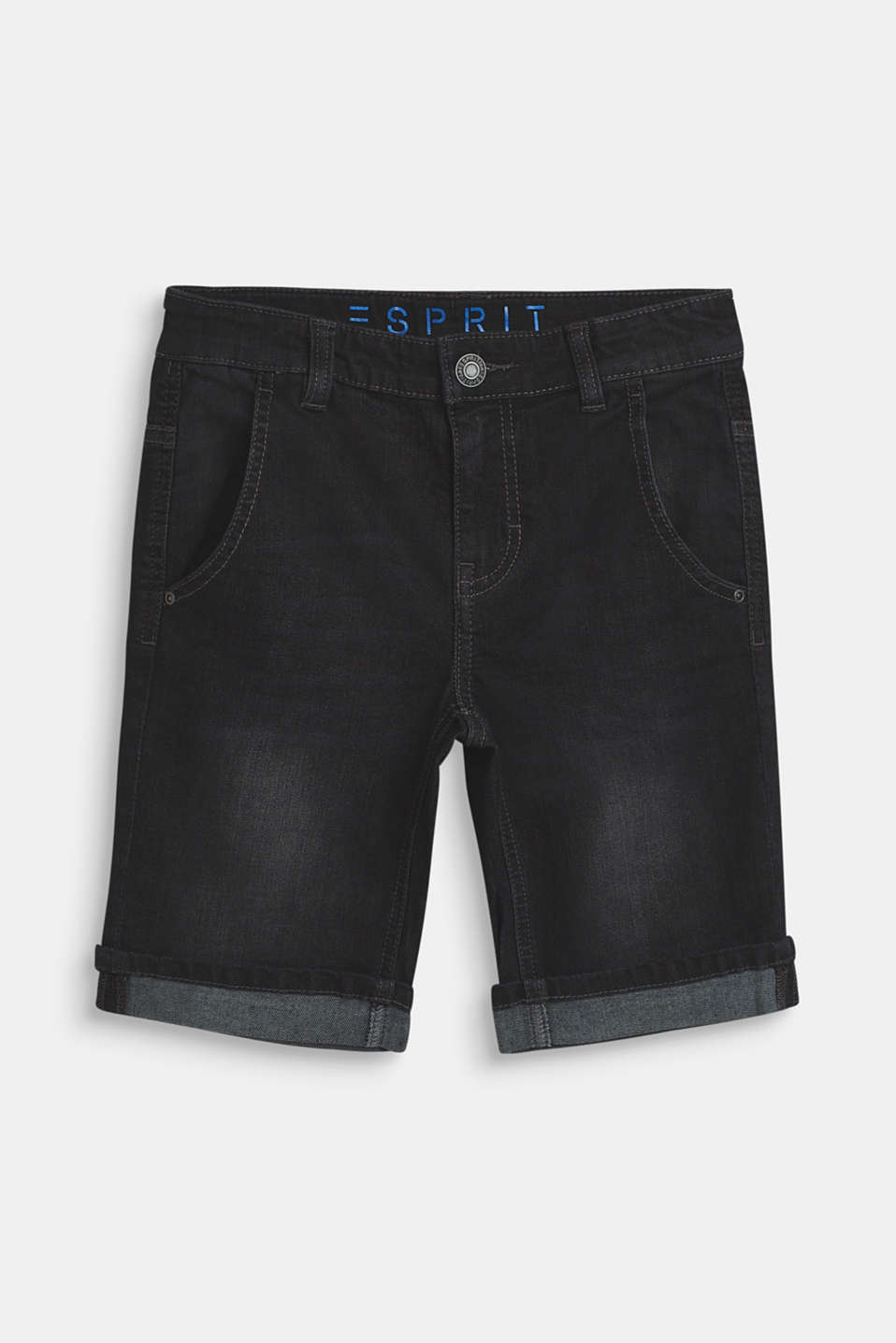 Esprit - Denim short met superstretch en een uitgewassen effect