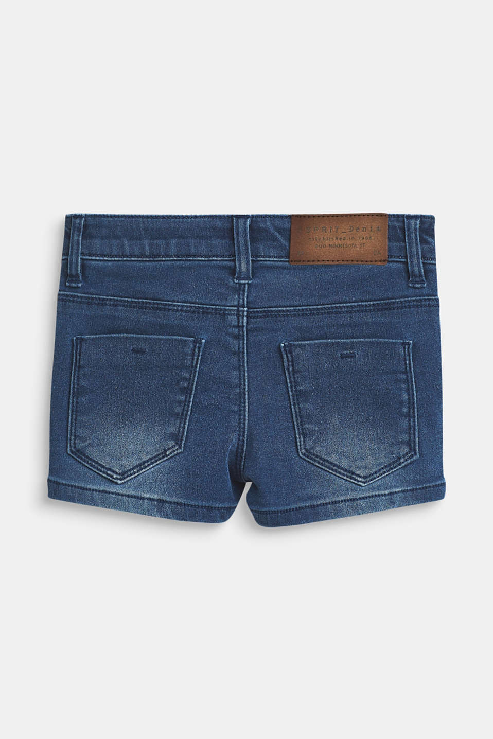 Stretch denim shorts with an adjustable waistband, MEDIUM WASH DE, detail image number 1