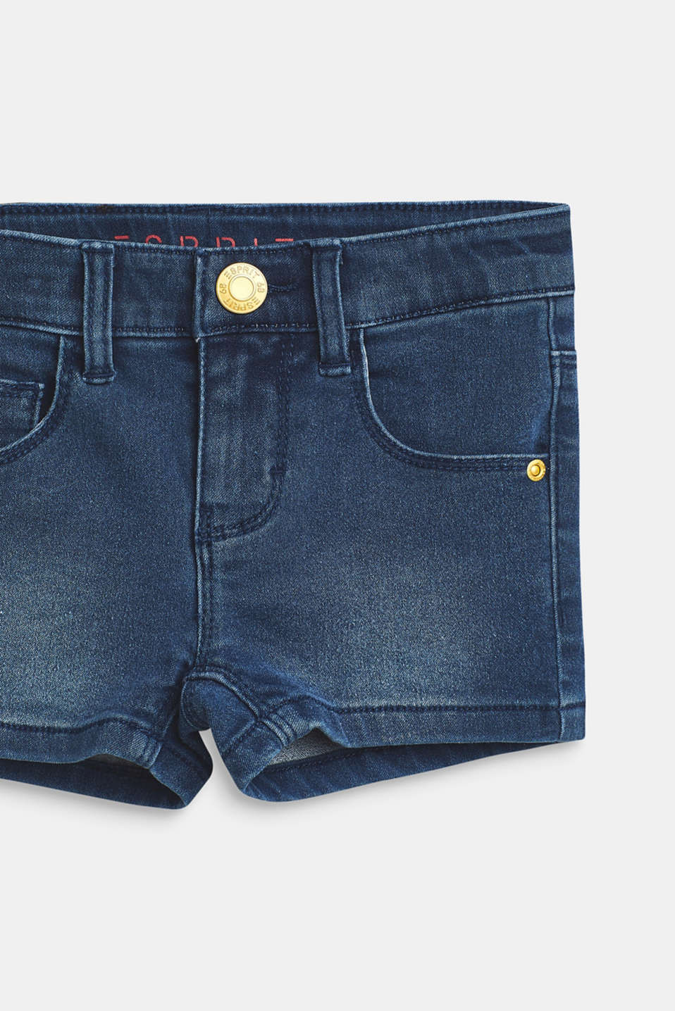 Stretch denim shorts with an adjustable waistband, MEDIUM WASH DE, detail image number 2