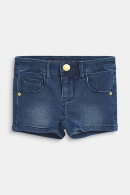 Stretch denim shorts with an adjustable waistband, MEDIUM WASH DE, detail