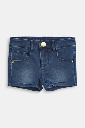 Stretch denim shorts with an adjustable waistband