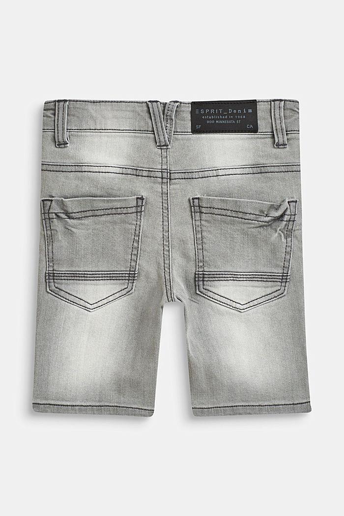 Stretch denim Bermudas with an adjustable waistband, GREY DENIM, detail image number 1