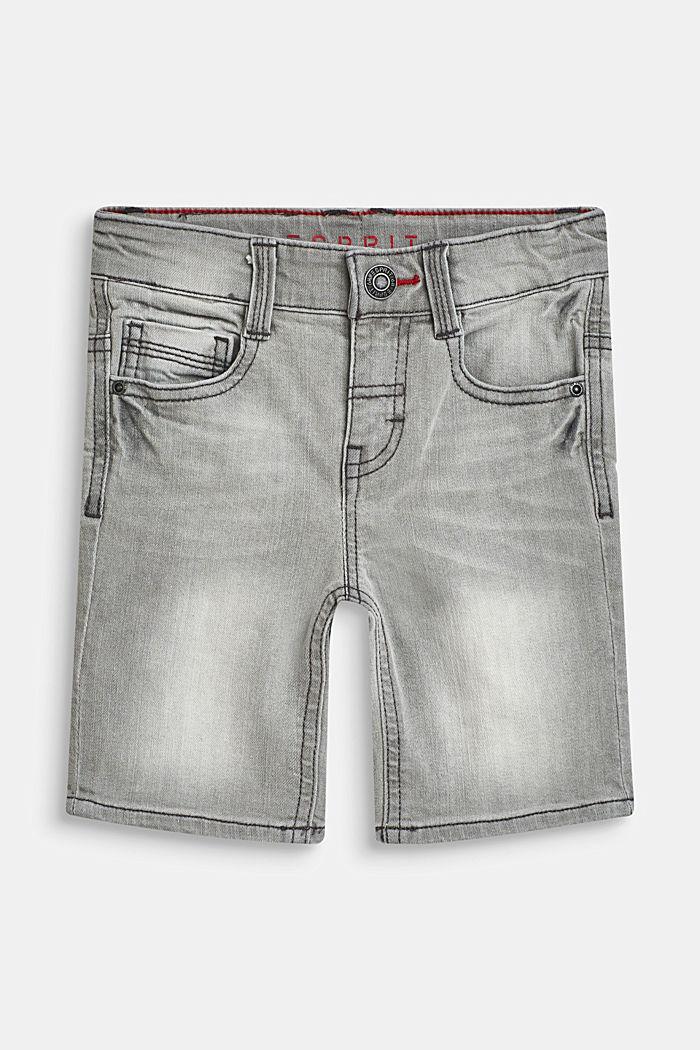 Stretch denim Bermudas with an adjustable waistband, GREY DENIM, detail image number 0