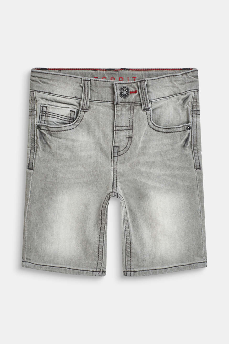 Esprit - Stretch denim Bermudas with an adjustable waistband