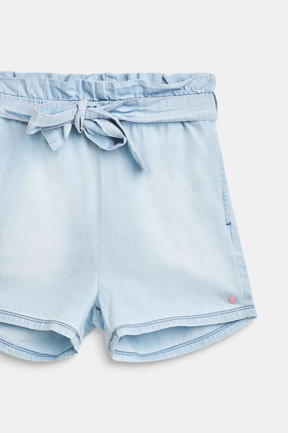Paper bag shorts with a tie-around belt, 100% cotton, LCBLEACHED DENIM, detail image number 2