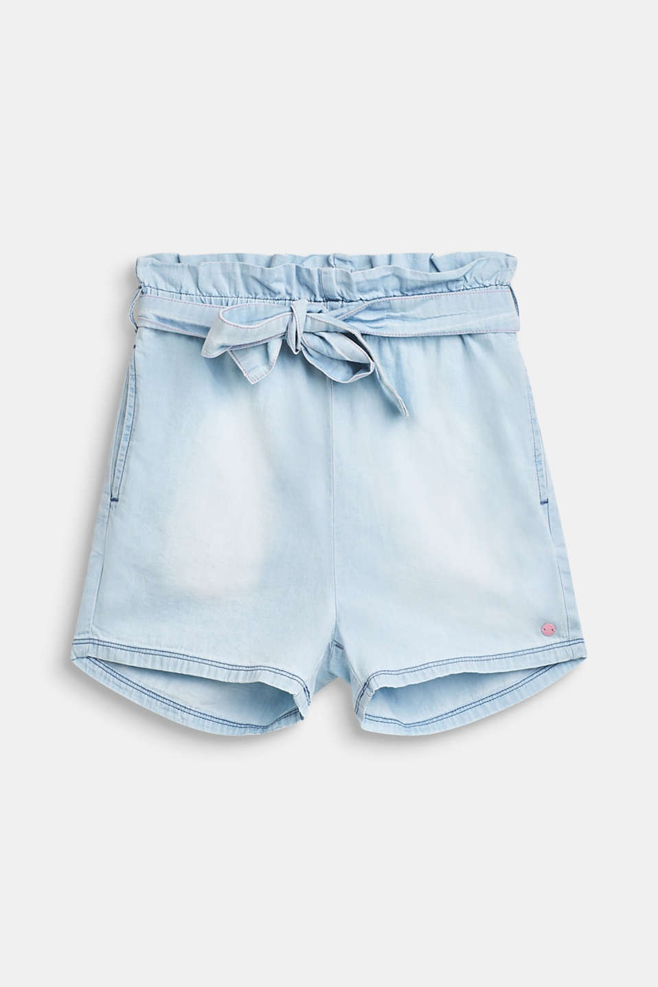 Paper bag shorts with a tie-around belt, 100% cotton, LCBLEACHED DENIM, detail image number 0