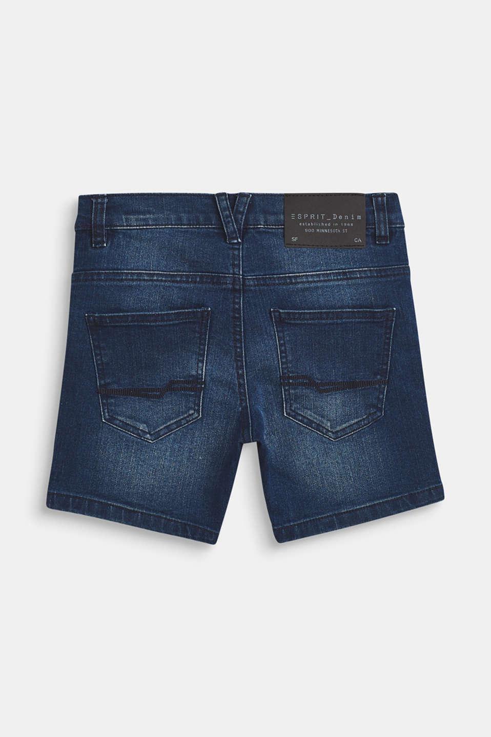 Ultra stretchy denim shorts with a vintage garment wash, LCMEDIUM WASH DE, detail image number 1
