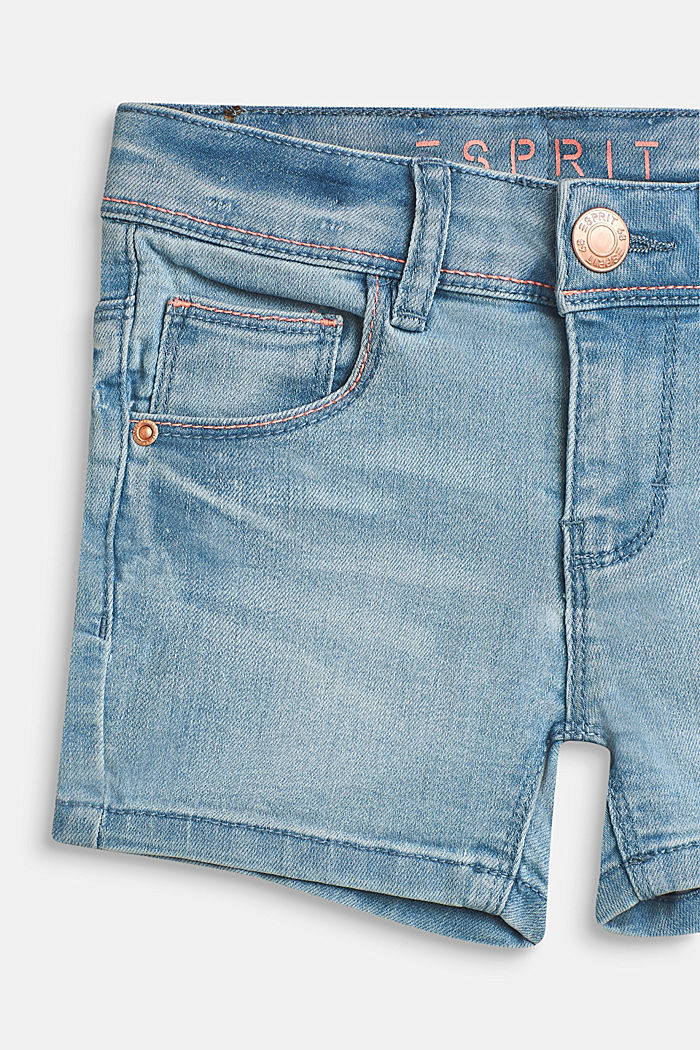 Superstrech-Jeansshorts mit Washed Out-Effekt, BLEACHED DENIM, detail image number 2