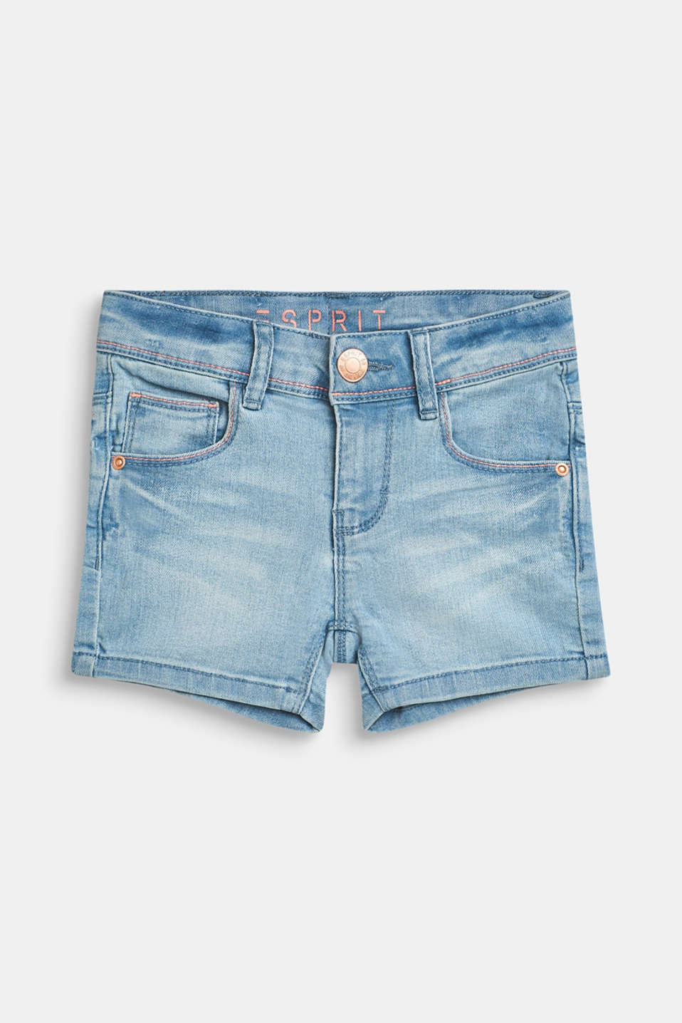 Esprit - Denim short met veel stretch en garment-washed effect