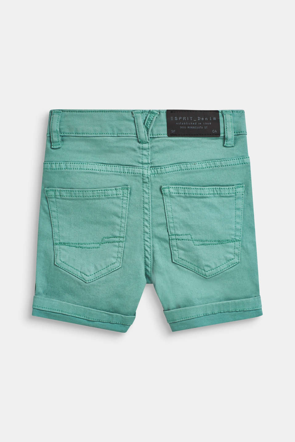 Stretch denim shorts in a fashion colour, SOFT GREEN, detail image number 1