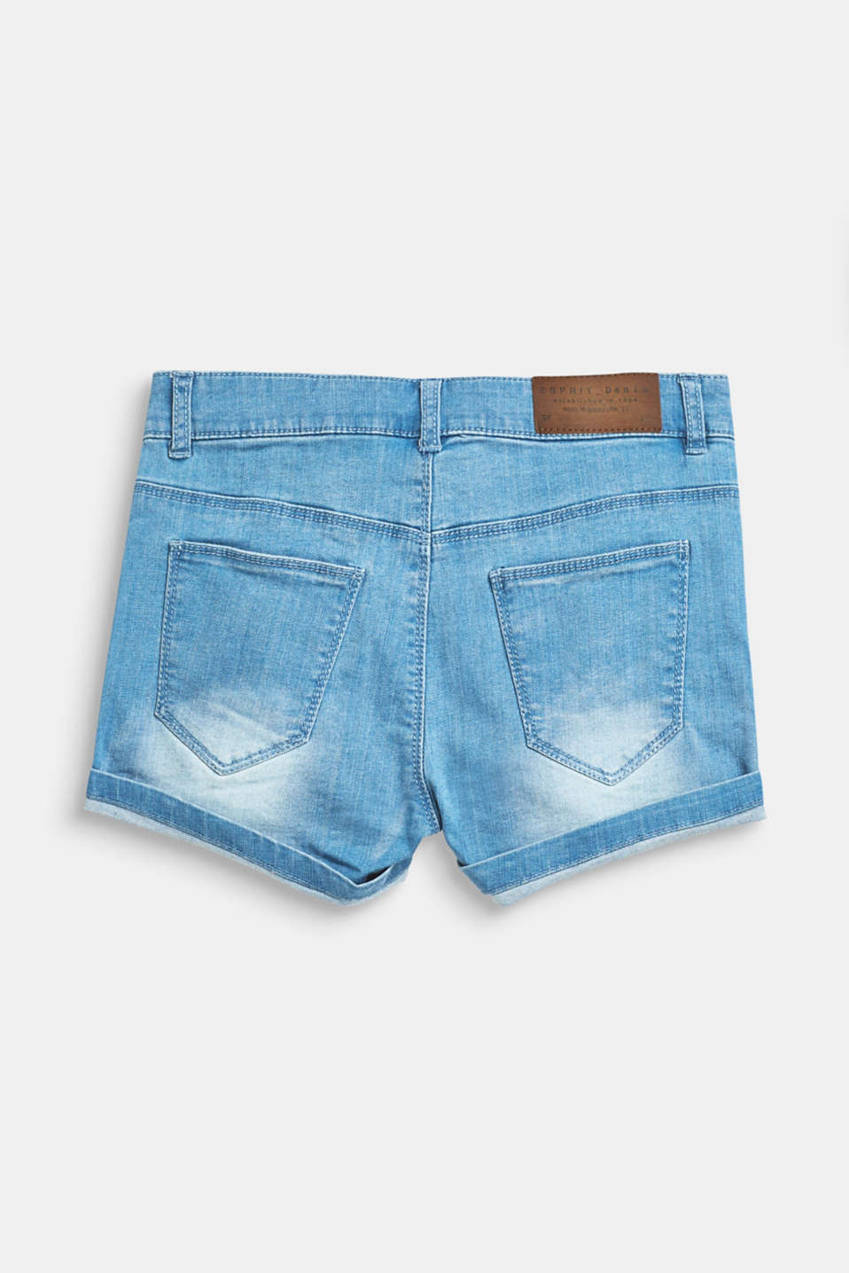Stretch denim shorts with turn-ups and an adjustable waistband, LCBLUE LIGHT WAS, detail image number 1