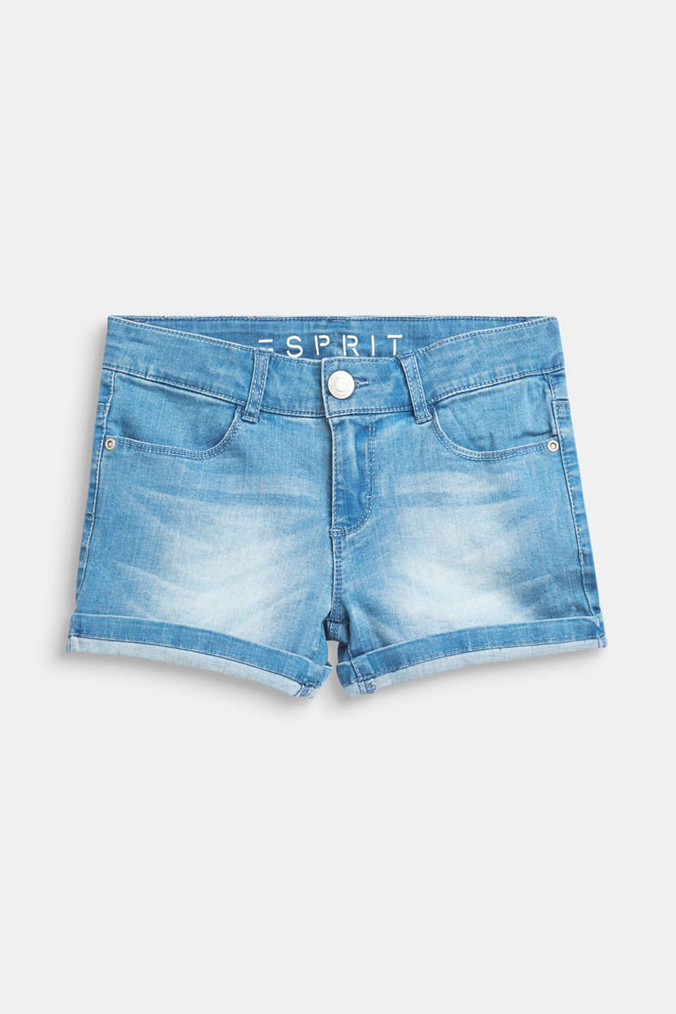 Stretch denim shorts with turn-ups and an adjustable waistband, LCBLUE LIGHT WAS, detail image number 0