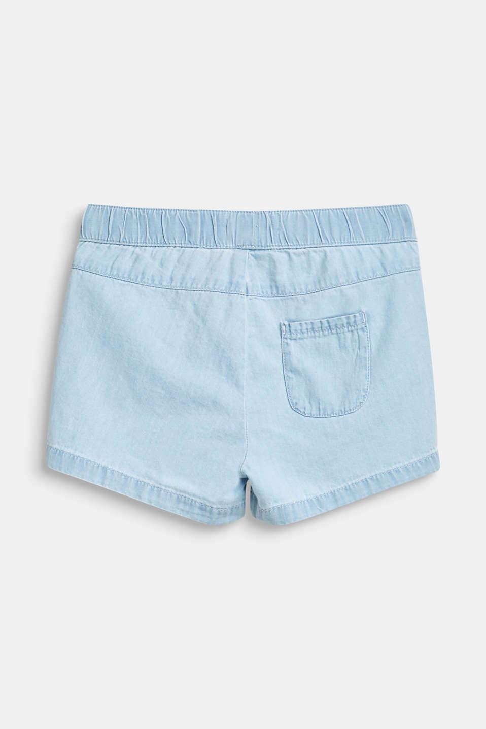 Frill detail denim shorts, 100% cotton, BLEACHED DENIM, detail image number 1