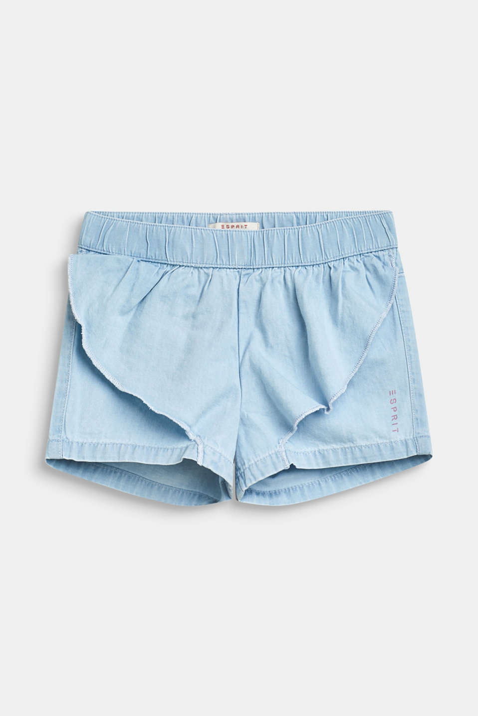 Frill detail denim shorts, 100% cotton, BLEACHED DENIM, detail image number 0