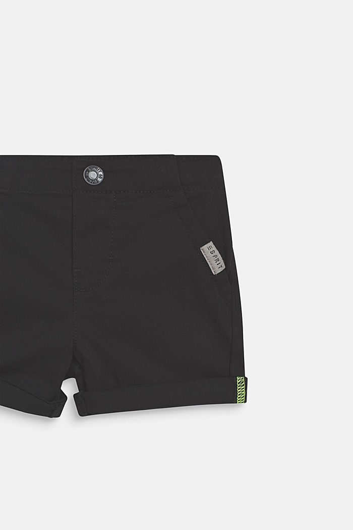 Stretch cotton shorts with an elasticated waist, ANTHRACITE, detail image number 1