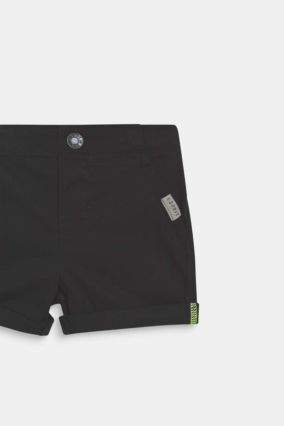 Stretch cotton shorts with an elasticated waist, LCANTHRACITE, detail image number 1