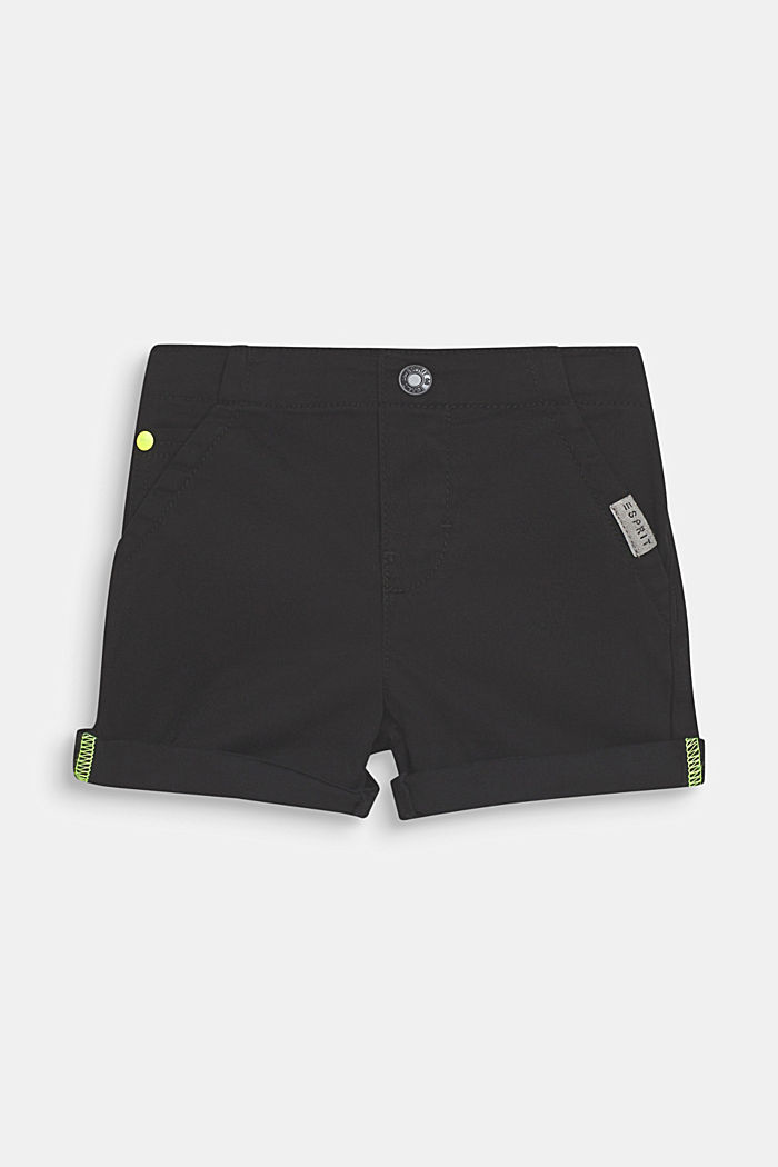 Stretch cotton shorts with an elasticated waist, ANTHRACITE, detail image number 0