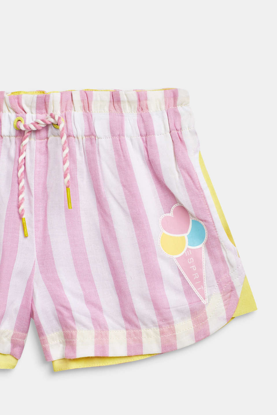 Striped woven shorts with a print, 100% cotton, CANDY PINK, detail image number 2