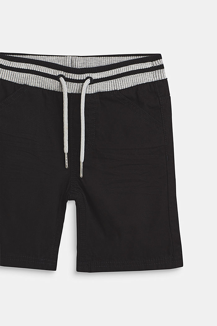 Woven shorts with elasticated, rib knit waistband, ANTHRACITE, detail image number 1