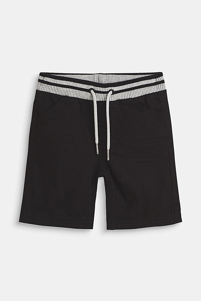 Woven shorts with elasticated, rib knit waistband, ANTHRACITE, detail image number 0