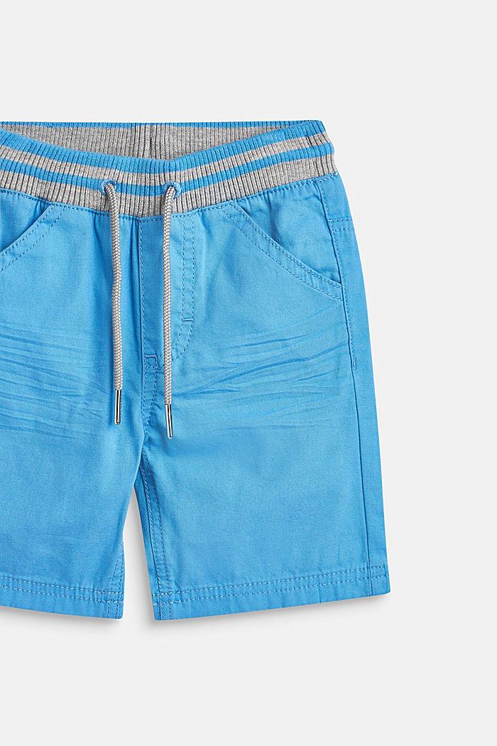 Geweven short met elastische, ribgebreide band, AZUR BLUE, detail image number 1