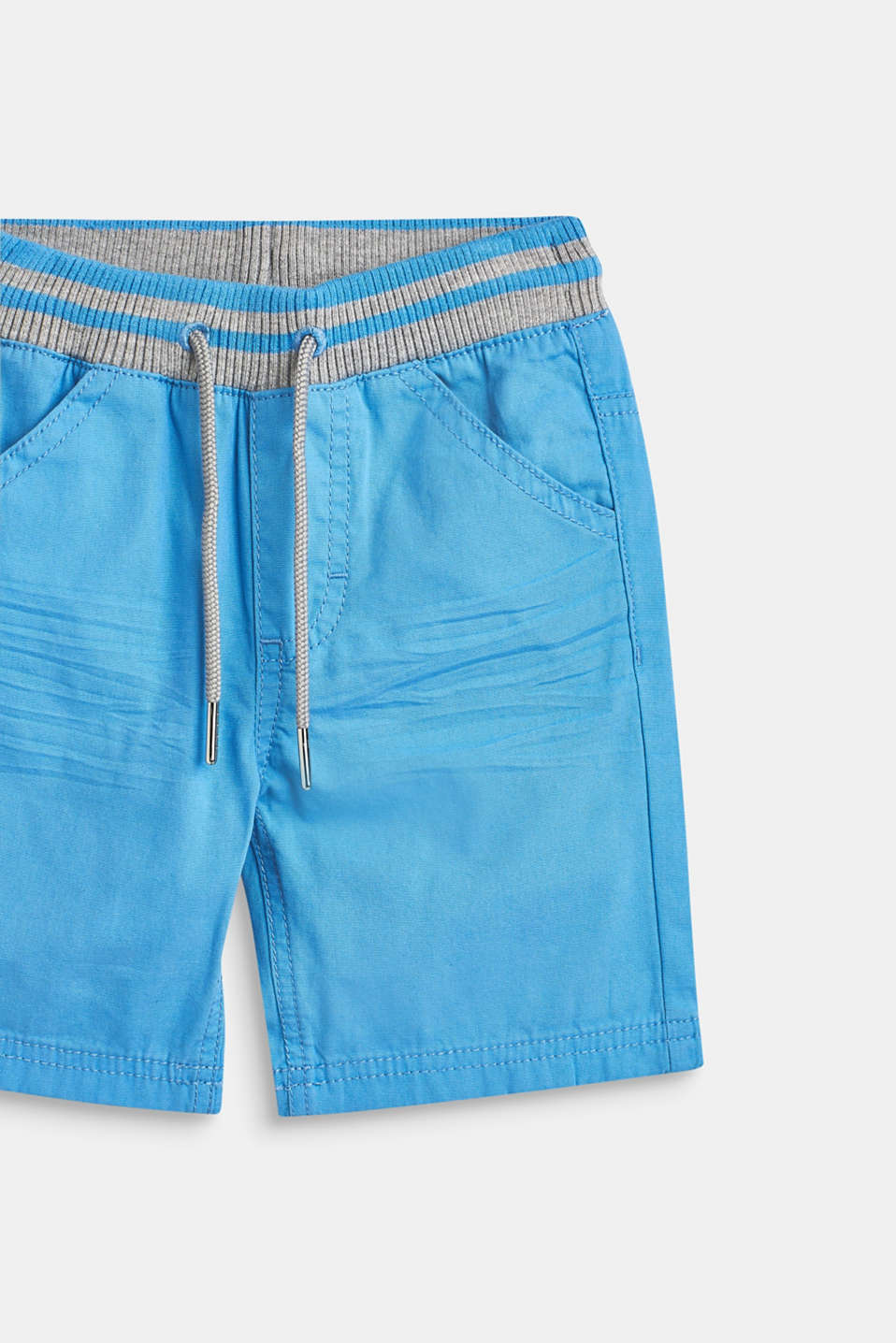 Woven shorts with elasticated, rib knit waistband, AZUR BLUE, detail image number 1