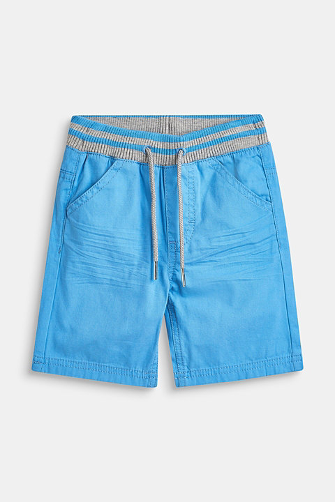 Woven shorts with elasticated, rib knit waistband