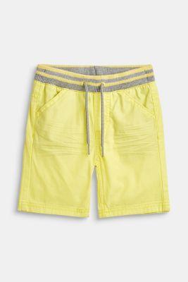 Woven shorts with elasticated, rib knit waistband, LEMON DROP, detail