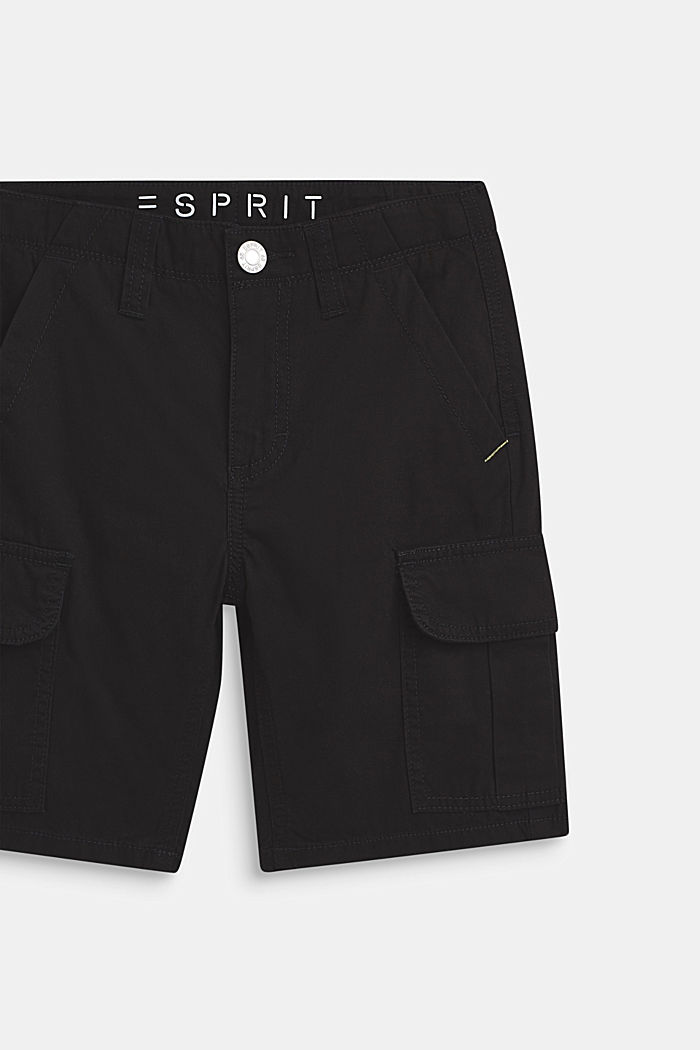 Shorts i cargomodell, 100% bomull, LCANTHRACITE, detail image number 1
