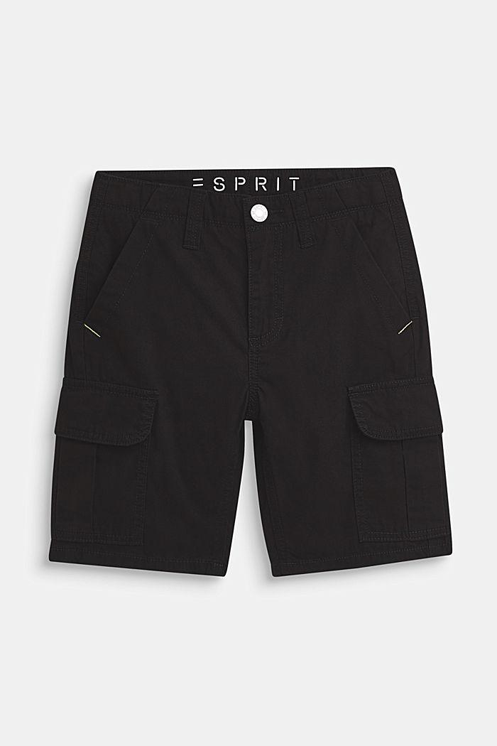 Shorts i cargomodell, 100% bomull, LCANTHRACITE, detail image number 0