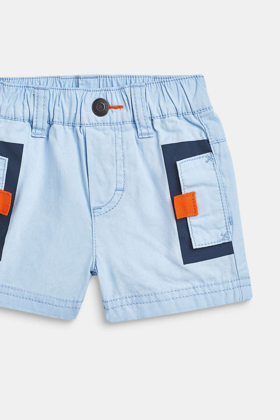 Shorts with an elasticated waistband, 100% cotton, LCSKY BLUE, detail image number 1