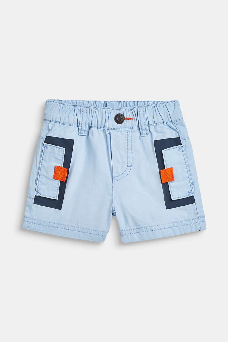 Shorts with an elasticated waistband, 100% cotton, LCSKY BLUE, detail image number 0